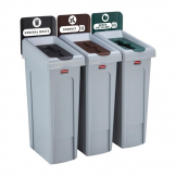Rubbermaid Slim Jim Three Stream Recycling Station 87Ltr