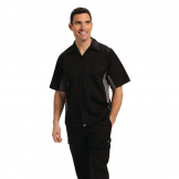 Chef Works Unisex Contrast Shirt Black and Grey L