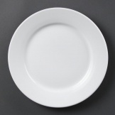 Bulk Buy Olympia Whiteware Wide Rimmed Plates 250mm (Pack of 36)