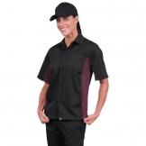 Chef Works Unisex Contrast Shirt Black and Merlot M