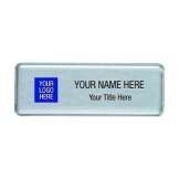 Reusable Name Badge Kits - 10 Badge Kit - Large Rectangle Silver