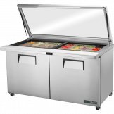 True Glass Lid Refrigerated Prep counter: 2 Door, 24x 1/6 GN pans TSSU-60 FGLID
