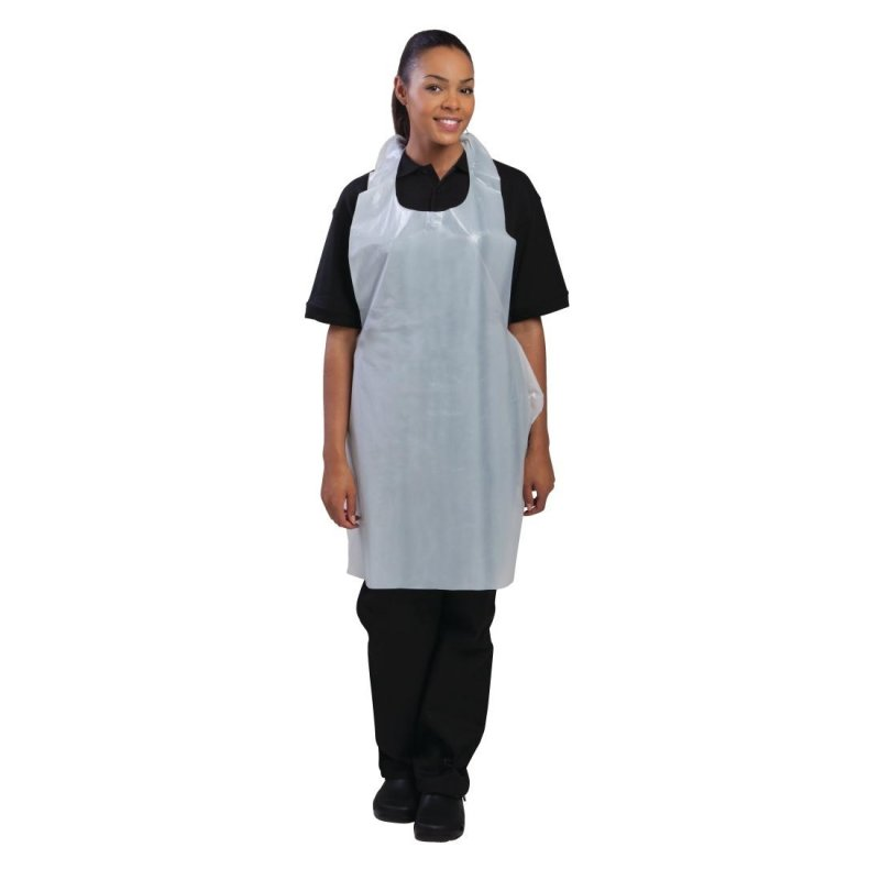 Disposable Polythene Bib Aprons White