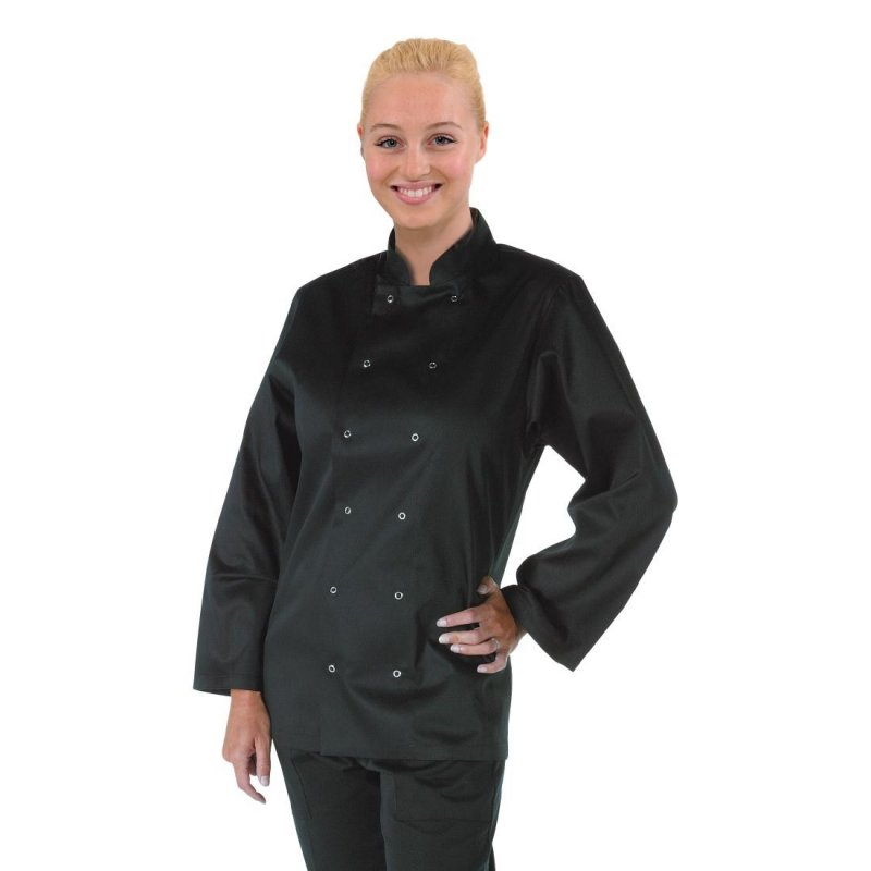 Whites Vegas Unisex Chef Jacket Long Sleeve Black - XXL