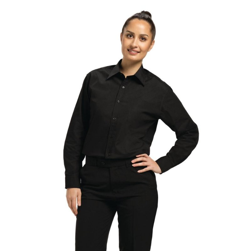Chef Works Unisex Long Sleeve Dress Shirt Black S
