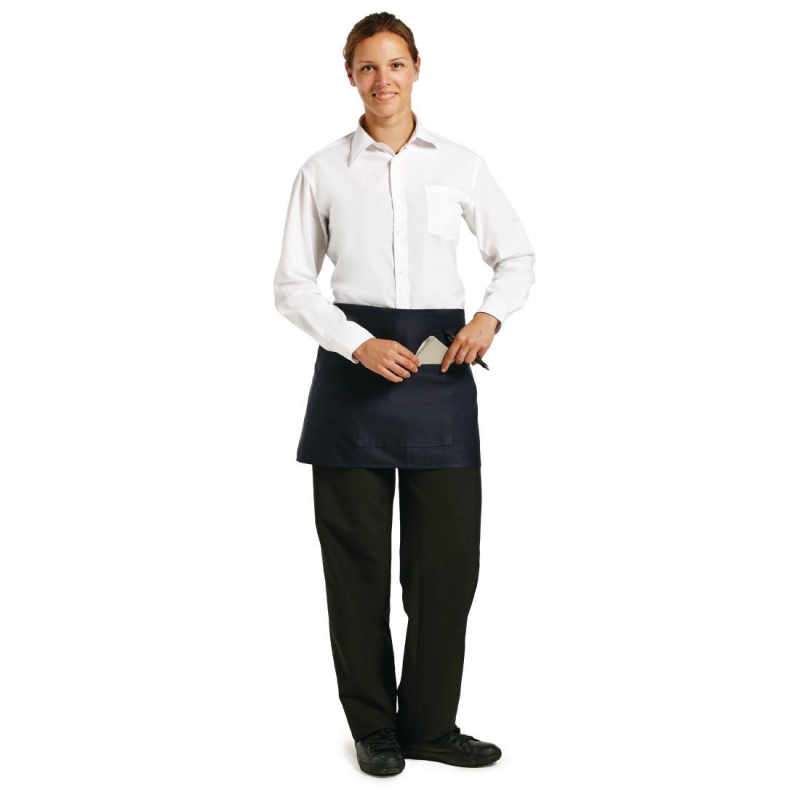 Chef Works Short Bistro Apron Navy Blue